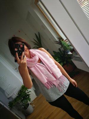 Sjaal met franjes roségoud-rosé