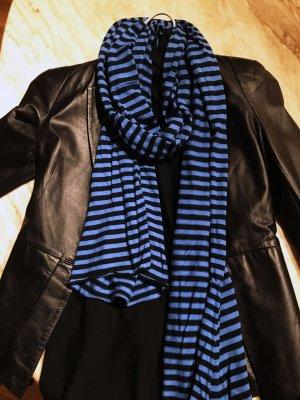 Mango Sjaal zwart-neon blauw Katoen