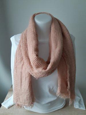 Sciarpa lavorata a maglia color oro rosa-rosa antico