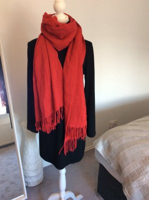 Amisu Bufanda de flecos rojo-rojo oscuro