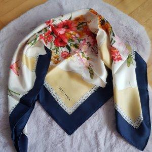 Écharpe en soie crème-bleu