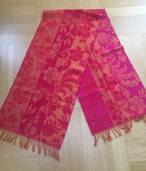 Sciarpa di lana rosso lampone-arancione
