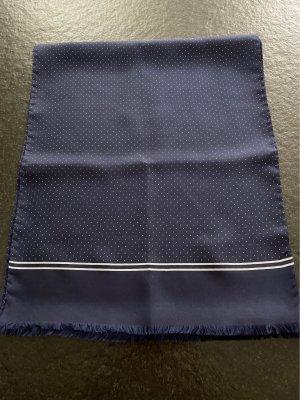 Jedwabny szal ciemnoniebieski-biały