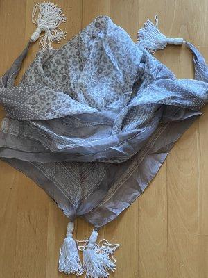 Hallhuber Bufanda de seda color plata-blanco Seda