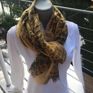 Sciarpa di seta giallo lime-blu fiordaliso Viscosa