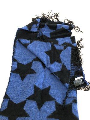 H&M Fringed Scarf black-blue