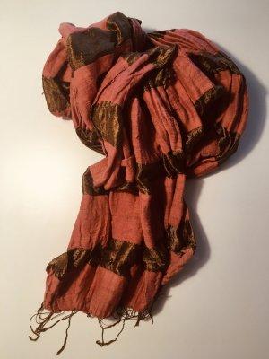 Ohne Bufanda de flecos color bronce-rosa