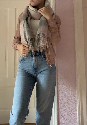 Sciarpa di lana rosa antico-argento