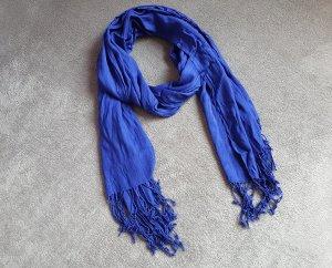 Schal Blau Kobaltblau Fransen