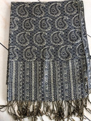 Fringed Scarf dark blue-gold-colored
