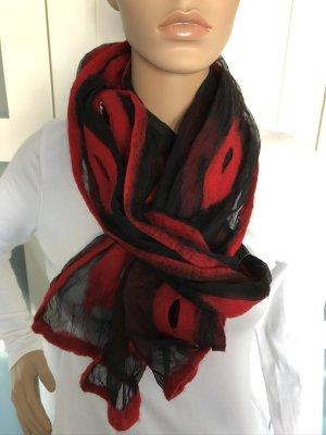 Handmade Bufanda de lana negro-rojo ladrillo Gasa