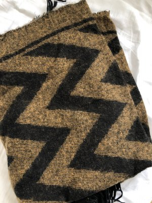 HM Bufanda de punto marrón-negro