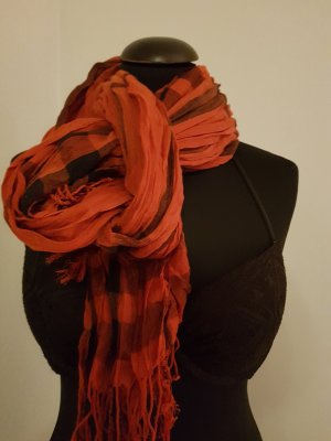 0039 Italy Fringed Scarf black-dark orange