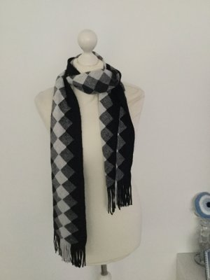 keine Fringed Scarf white-black