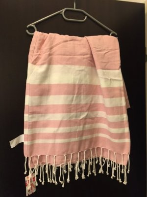 bpc bonprix collection Bufanda de flecos rosa claro-blanco