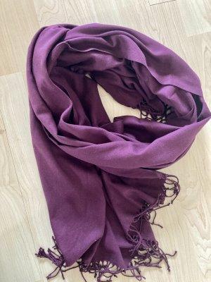 Bufanda de flecos rojo zarzamora-violeta amarronado