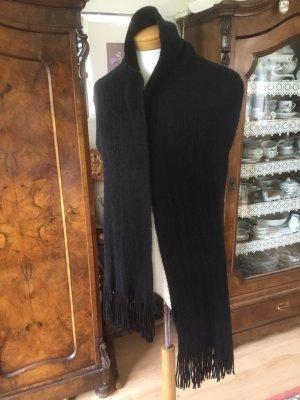 Unbekannte Marke Bufanda de flecos negro tejido mezclado