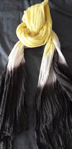 Écharpe froissée brun foncé-jaune