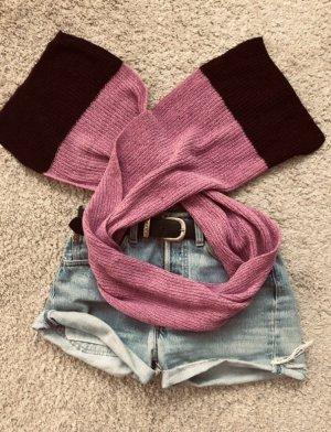 Sciarpa lavorata a maglia rosa-viola