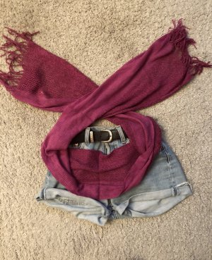 Sjaal met franjes braambesrood