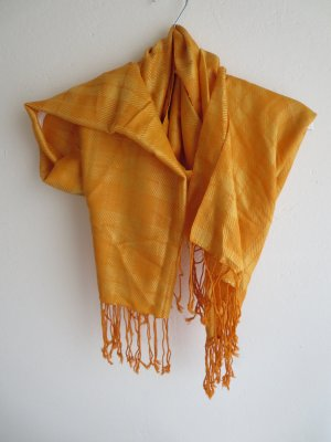 Pashmina Écharpe à franges jaune-orange