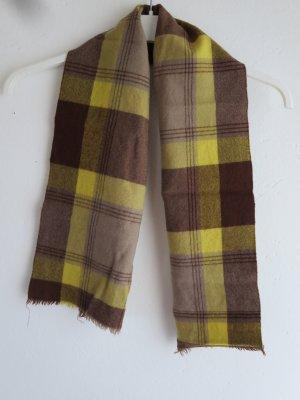 Vintage Bufanda de lana marrón-amarillo Lana