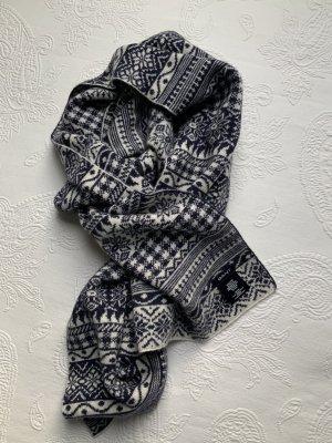 Gant Écharpe en laine bleu foncé-blanc