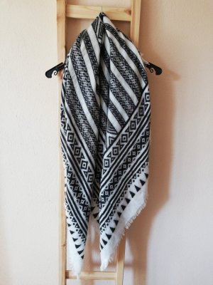 Atmosphere Fringed Scarf white-dark blue