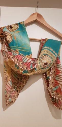 no name Bufanda de seda color oro-turquesa