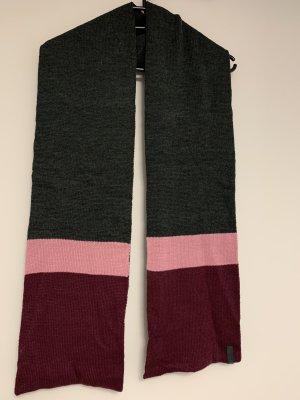 Schal grau rot rosa Brombeere