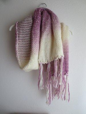 H&M Bufanda de ganchillo blanco-rosa Acrílico