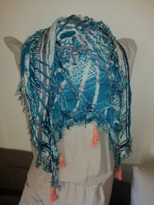Pieces Fringed Scarf white-cadet blue