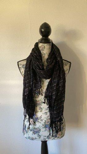 H&M Bufanda de flecos negro-color plata