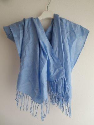 Sciarpa con frange azzurro Tessuto misto