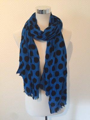Schal in blau mit schwarzen Punkten