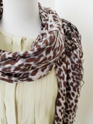 Bufanda de flecos marrón-negro-crema