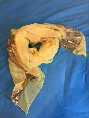 Schal in Neongelb mit Goldstreifen