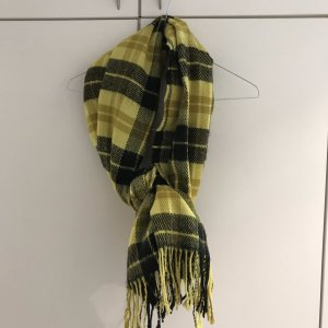 H&M Divided Fringed Scarf black-neon yellow
