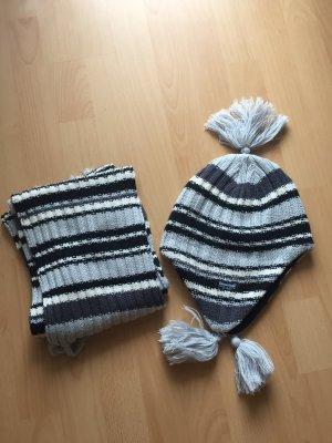 Bufanda de ganchillo blanco-gris