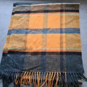Unbekannte Marke Sciarpa di lana nero-arancione