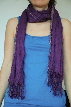 Schal Knitterlook lila und silber