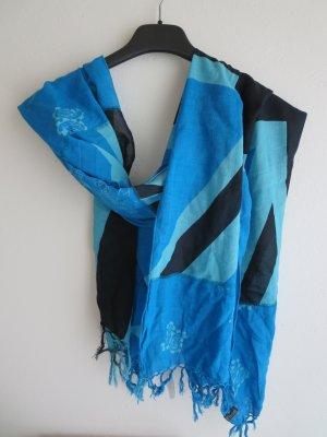 Tom Tailor Écharpe à franges bleu-noir coton
