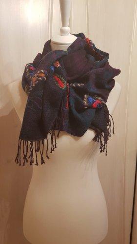Écharpe à franges multicolore coton
