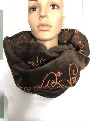 handmade Sciarpone marrone scuro-arancione scuro Velluto