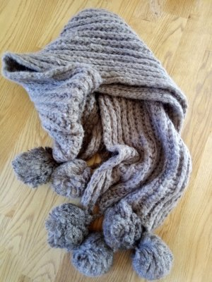 Clayre & Eef Knitted Scarf grey brown