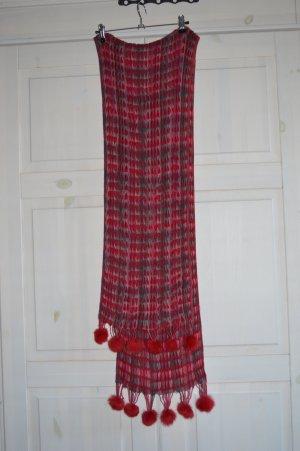Bufanda de ganchillo rojo neón tejido mezclado