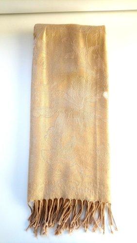 Sjaal met franjes goud-zandig bruin
