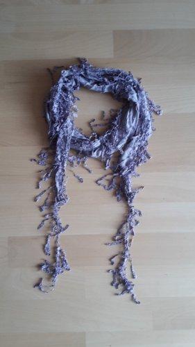 Écharpe à franges vieux rose-mauve