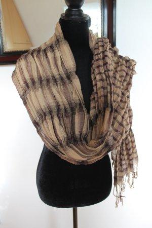 Schal mit Fransen in den Farben braun/beige/lila