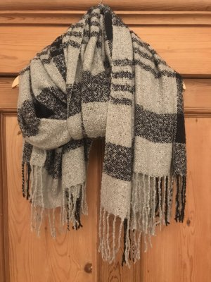 Opus Fringed Scarf light grey-dark blue